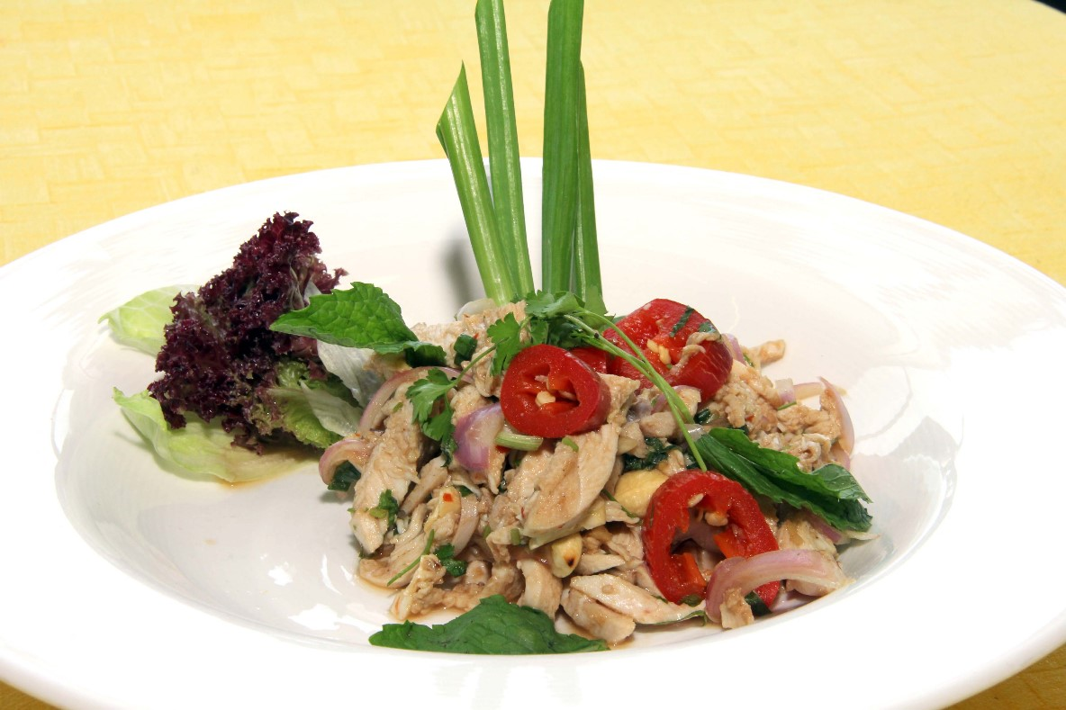 Thai chicken salad with coriander mint and red onions